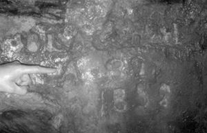 Inscription made by Thomas Blackah in Cockhill Level